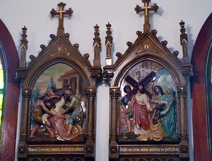 Two of the Stations of the Cross in St. Vitus Catholic church in Touhy, Nebraska