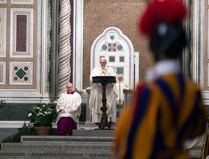 Pope Francis celebrates Mass for the Dominicans on the 800th anniversary of the order's founding at the Basilica of St. John Lateran, Jan. 21, 2017.