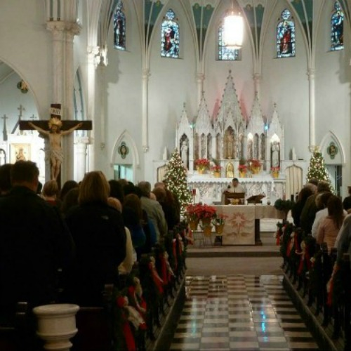 More than 300 Catholics gathered for the 'Mass mob' at Our Lady of Perpetual Help in Buffalo, where around 50 worshippers usually gather on Sundays.