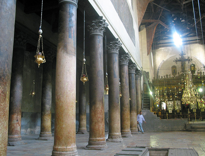 The interior of the Church of the Nativity in Bethlehem.