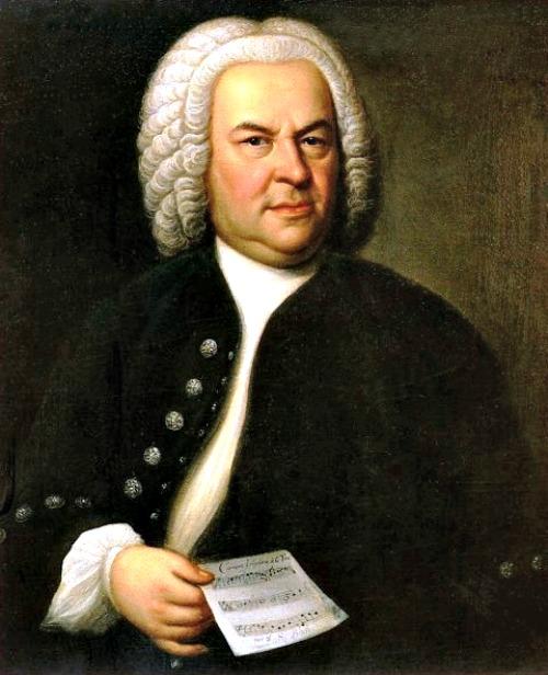 Johann Sebastian Bach (aged 61) in a portrait by Elias Gottlob Haussmann, copy or second version of his 1746 canvas.