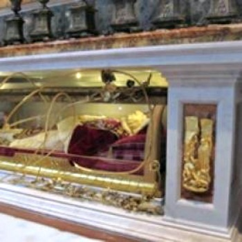 Blessed John XXIII's tomb under the altar of St. Jerome in St. Peter's Basilica.