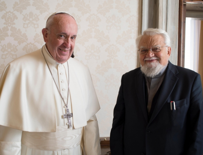 Pope Francis received Brother Enzo Bianchi, founder of the Bose Community, in a private audience on Jan. 12, 2019.