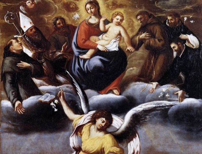 Carracci image shows Mary, Jesus and the saints in heaven and an angel ministering to the souls in purgatory.