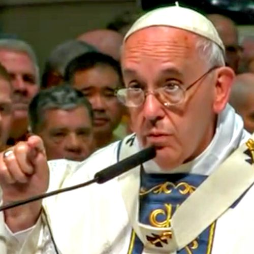 Pope Francis speaks at the Sept. 26 Mass he celebrated at  the Cathedral-Basilica of Sts. Peter and Paul in Philadelphia.