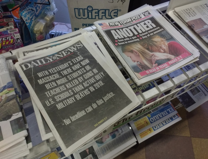 The New York Daily News and New York Post the day after the massacre at Santa Fe High School in Texas.