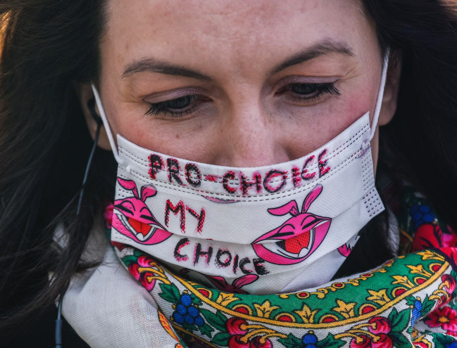 A pro-abortion activist attends a protest April 15 in Krakow, Poland.
