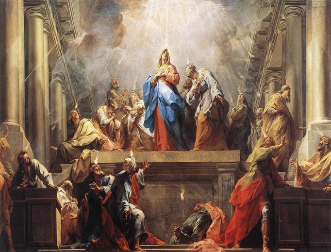 A depiction of Pentecost, painted by Jean II Restout, 1732