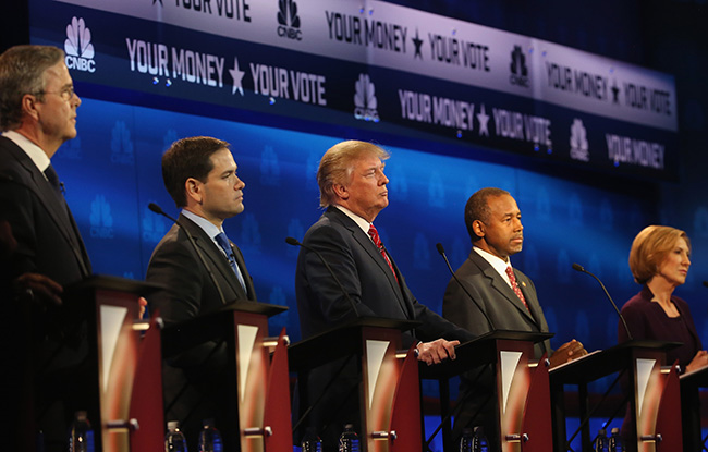 Presidential candidates Jeb Bush (L-R), Marco Rubio (R-FL), Donald Trump, Ben Carson, and Carly Fiorina look on during the CNBC Republican Presidential Debate at University of Colorados Coors Events Center October 28, 2015 in Boulder, Colorado. Fourteen Republican presidential candidates are participating in the third set of Republican presidential debates.