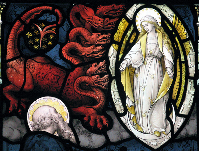 Detail of a stained glass window in the parish church of St Mary the Virgin, Henley on Thames, Oxfordshire, England.
