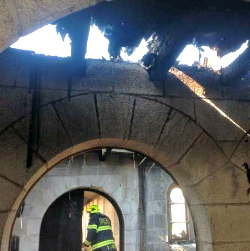 Devastation from an arson attack on the Catholic Church of the Multiplication in Tabgha, Israel, suspected to have been carried out by Jewish extremists.