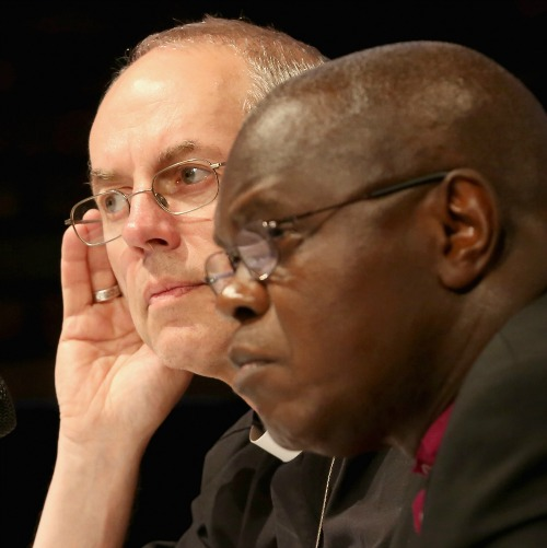 Archbishop of Canterbury Justin Welby (l) and Archbishop of York John Sentamu take questions at a July 14 press conference in York, England.