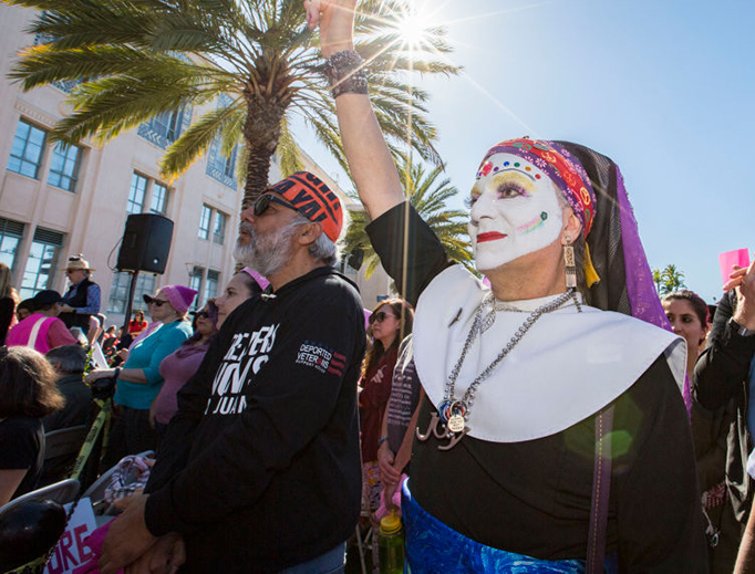 """A member of the """"Sisters of Perpetual Indulgence"""" attends Women's March San Diego on Jan. 19, 2019 in San Diego, California."""