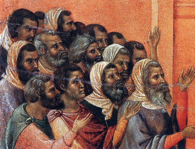 "Duccio di Buoninsegna, ""Christ Accused by the Pharisees,"" c. 1310"