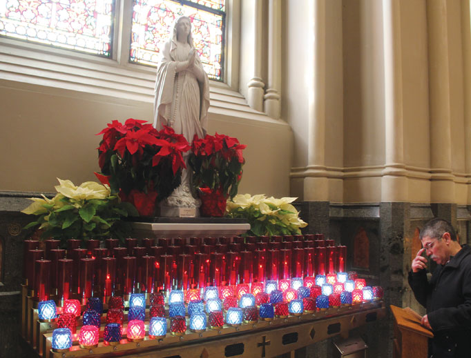 HONORING MARY. Our Lady of Fatima graces the Cathedral of Sts. Peter and Paul in Providence, Rhode Island.
