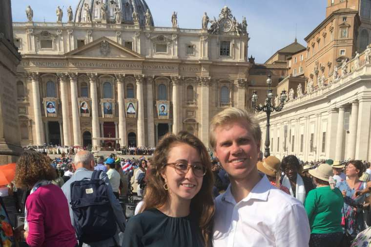 Elayne Allen, with a friend, at the Oct. 13 canonization of St. John Henry Newman.