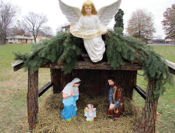 Efforts have been made by the American Nativity Scene organization to feature free-of-charge Nativity scenes to display on public property, including in Rockford, Illinois (above). Below, a Nativity in Lakeside Mall in the New Orleans suburb of Metairie and a Christ-centered billboard from Keep Christ in Christmas NOLA show joy for the season.