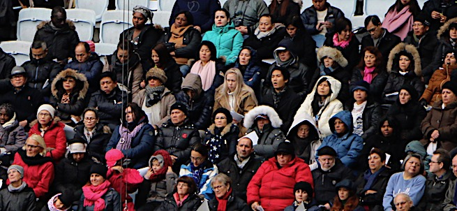 Swedish pilgrims listen as Pope Francis delivers his homily at All Saints Day Mass in Malmö stadium.