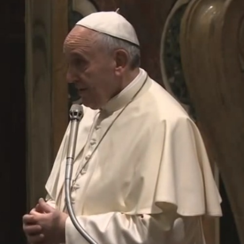 Pope Francis addresses Poland's bishops Jan. 7 at the Vatican's Clementine Hall.