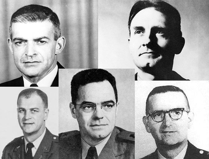 Top row: Fathers Vincent Capodanno and Emil Kapaun Bottom row: left to right: Fathers Angelo Liteky, Joseph O'Callahan and Charles Watters