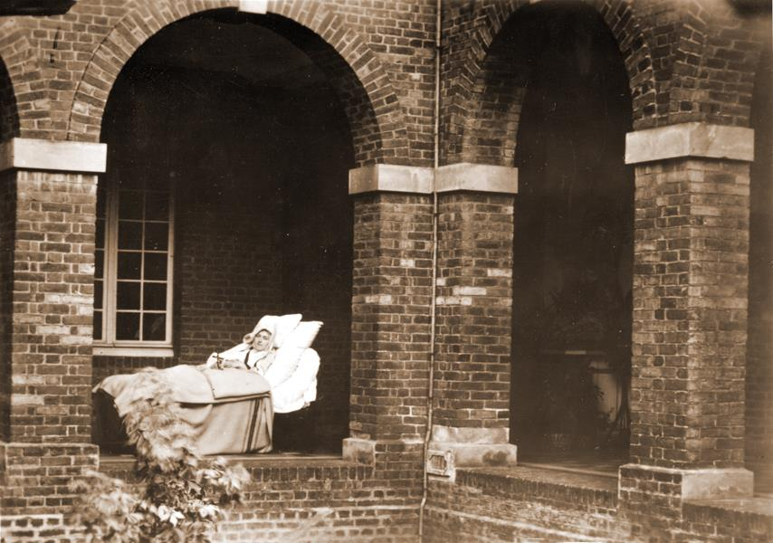 Thérèse of Lisieux on her sickbed near the cloister infirmary door on August 30, 1897, with one month to live.