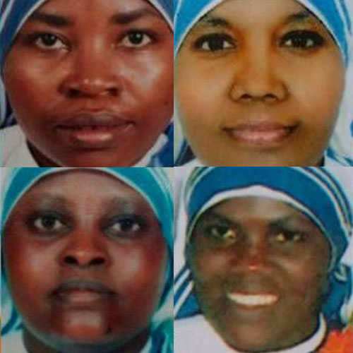 Clockwise from upper right: Sister Anselm, Sister Reginette, Sister Judith and Sister Marguerite, the Missionaries of Charity sisters who were killed in Aden, Yemen, by two gunmen who attacked their convent on March 4.