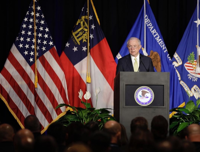 Attorney General Jeff Sessions said last month, 'Under this administration, religious Americans will be treated neither as an afterthought nor as a problem to be managed.' He is shown speaking at the National Law Enforcement Training on Child Exploitation in Atlanta June 6.