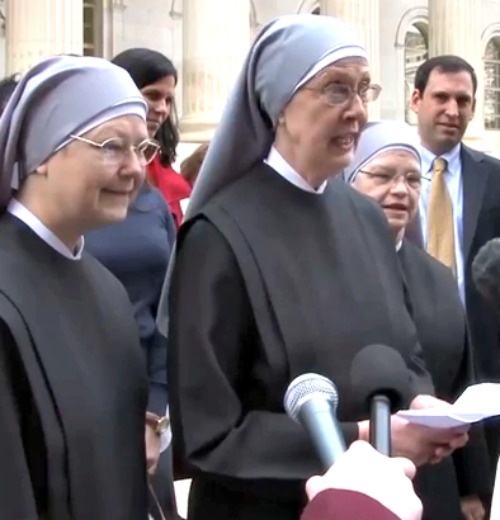 Mother Loraine Marie Maguire, mother provincial of the Little Sisters of the Poor, addresses the press after her appearance in appeals court on Dec. 8.