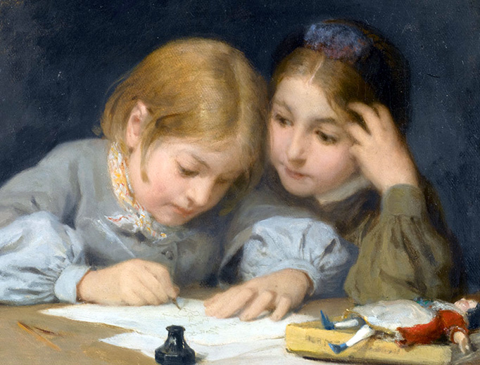 "Albert Anker, ""Writing Lessons,"" 1865"