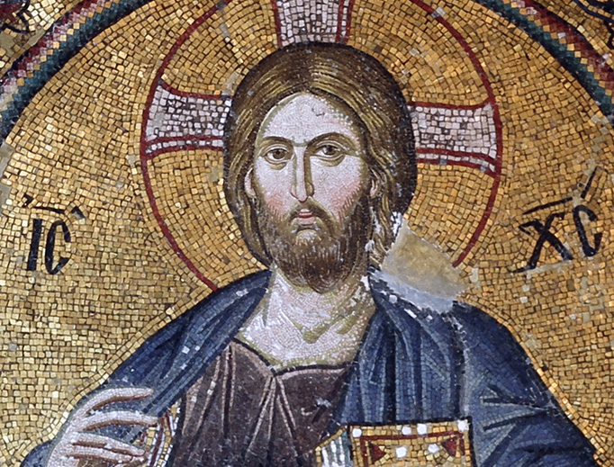 Pantocrator mosaic at the top of the southern cupula of the inner narthex of the Church of the Holy Saviour in Chora, in Istanbul.