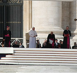 Pope Francis holds his first general audience on March 27 in St. Peter's Square.