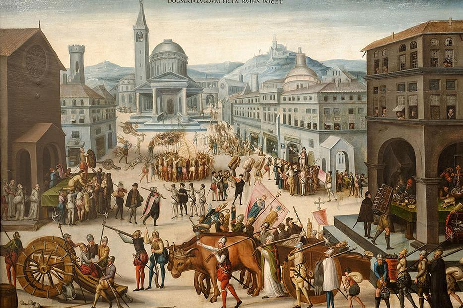 """Antoine Caron, """"The Sack of Lyon by the Calvinists in 1562,"""" c. 1565"""