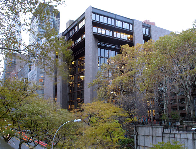 The corner façade of the Ford Foundation Building in New York City.