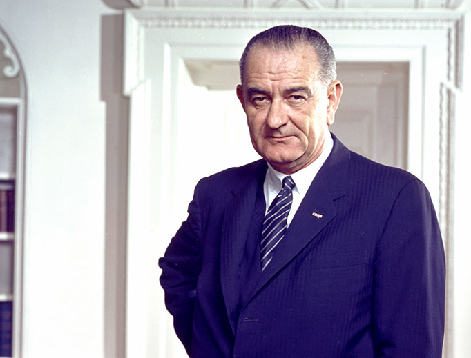 Official 1964 portrait of President Lyndon B. Johnson in the Oval Office (Arnold Newman/White House Press Office)