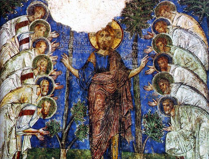 12th-century Cappadocian fresco of Christ and the Apostles