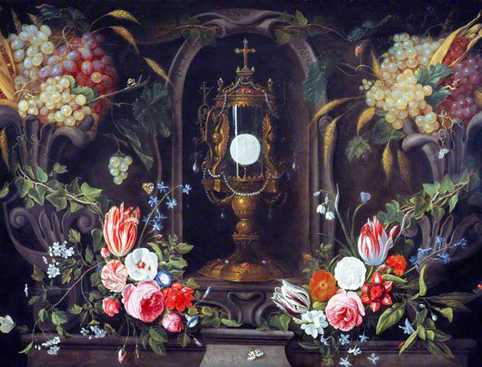 "Jan van Kessel the Elder, ""Still Life of Flowers and Grapes Encircling a Monstrance"", ca. 1670"