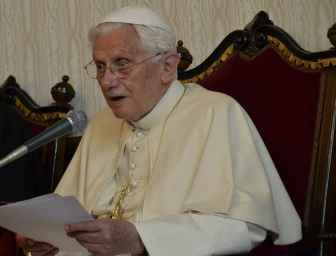 Pope Benedict XVI speaks during the during the 7th World Meeting of Families in Milan, Italy, on June 2, 2012.