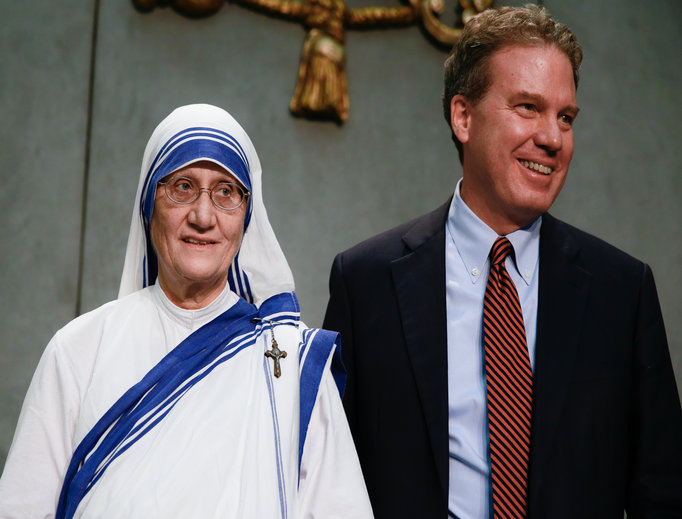 Holy See Press Director Greg Burke with Sister Mary Prema Pierick, mother superior of the Missionaries of Charity, at a press briefing on Mother Teresa's canonization at the Holy See Press Office on Sept. 2.