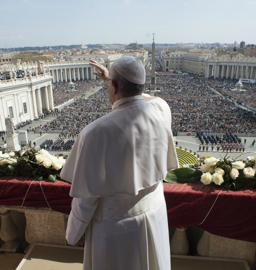 Pope Francis gives his 2016 urbi et orbi Easter address to pilgrims in St. Peter's Square on March 27.