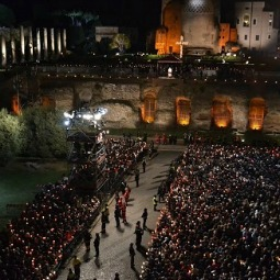 Pope Francis leads pilgrims April 18 in the Stations of the Cross for Good Friday at the Colosseum in Rome.