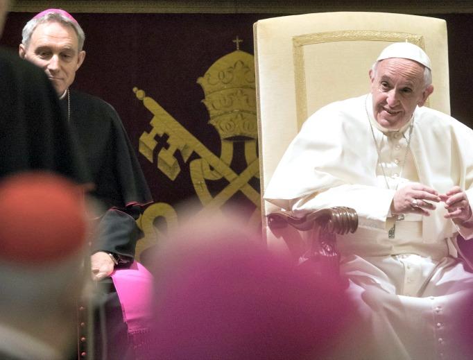 Pope Francis addresses the Roman Curia Dec. 22 at the Vatican.