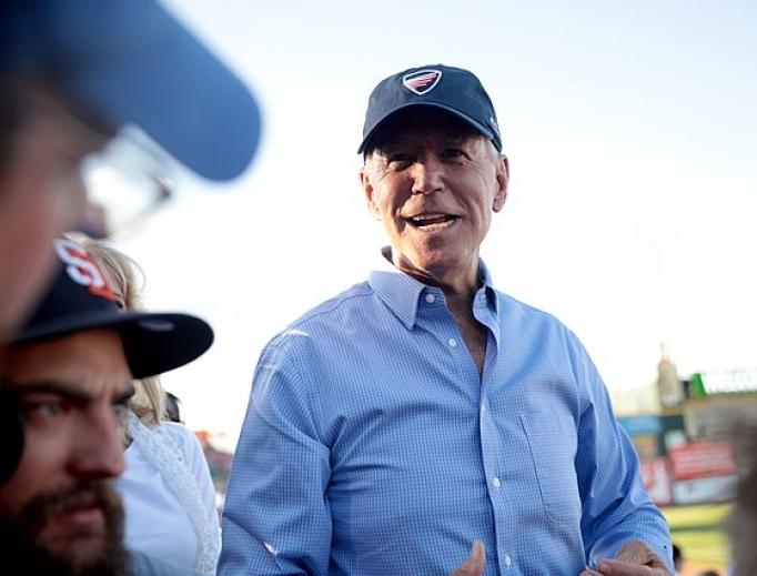 Joe Biden campaigning in Iowa on the 4th of July 2019.