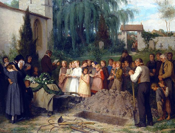 """Albert Anker, """"Kinderbegräbnis,"""" 1863"""