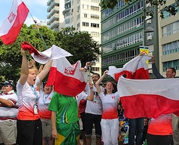 Polish pilgrims celebrate after hearing the news that the next World Youth Day will be in Krakow.
