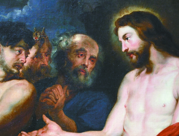 Rubens, Christ and the Penitent Sinners, 1618, depicts Jesus with Dismas, King David and St. Peter