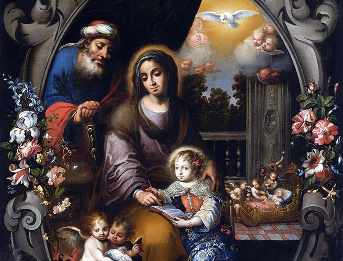 """Andrés Pérez (1660-1727), """"San Joaquín, Santa Ana y la Virgen Niña"""""""