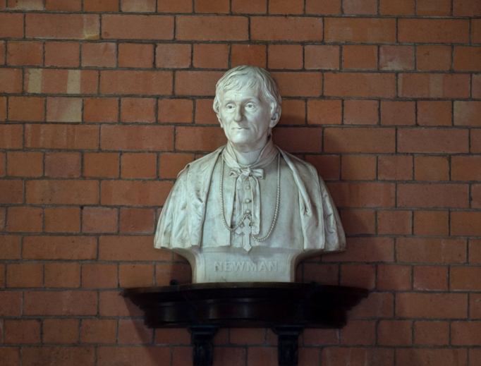 A bust of John Henry Newman is on display at the cloister of the Birmingham Oratory church.