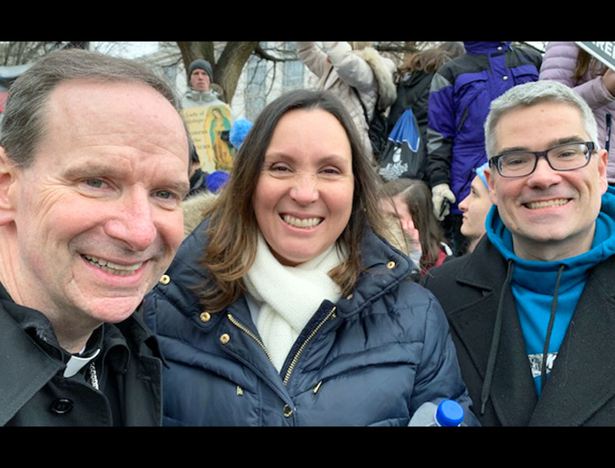 John and Lisa Clark with Bishop Michael Burbidge at the 46th March for Life, Jan. 18, 2019.