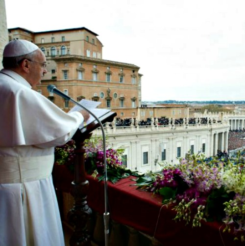 Pope Francis gives his blessing urbi et orbi (to the city of Rome and to the world) April 5.