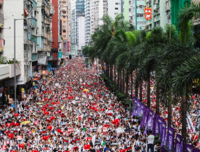 Anti-extradition bill demonstration in Hong Kong, June 9th 2019.